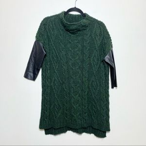 ZARA Green Cable Knit Sweater Faux Leather Sleeves